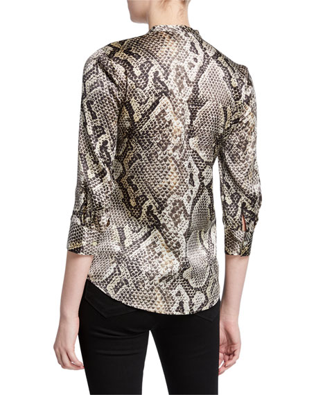 L'Agence Aoki Snake-Print Button-Down Silk Blouse with Band Collar