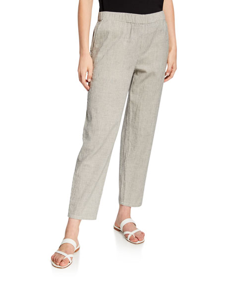 Eileen Fisher Ticking Stripe Tapered Pull-On Ankle Pants