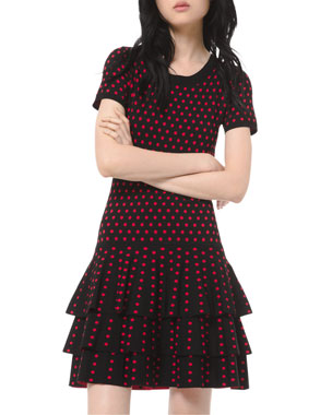 MICHAEL Michael Kors Polka-Dot Short-Sleeve 3-Tier Mini Dress
