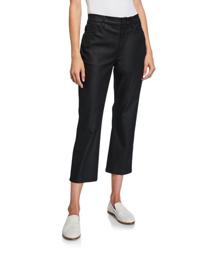 Coated Stretch-Denim Cropped Flare Jeans