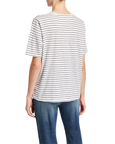 Eileen Fisher Plus Size Striped V-Neck Short-Sleeve Organic Cotton Slub Tee