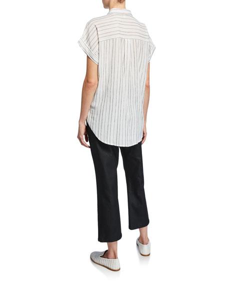 Eileen Fisher Striped Button-Down Short-Sleeve Shirt
