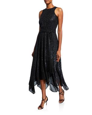 MICHAEL Michael Kors Animal-Print Sleeveless Handkerchief Dress