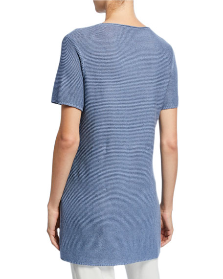 Image 2 of 2: Eileen Fisher Petite Organic Linen/Cotton Short-Sleeve Corded Tunic Sweater