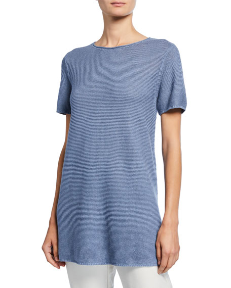 Image 1 of 2: Eileen Fisher Petite Organic Linen/Cotton Short-Sleeve Corded Tunic Sweater