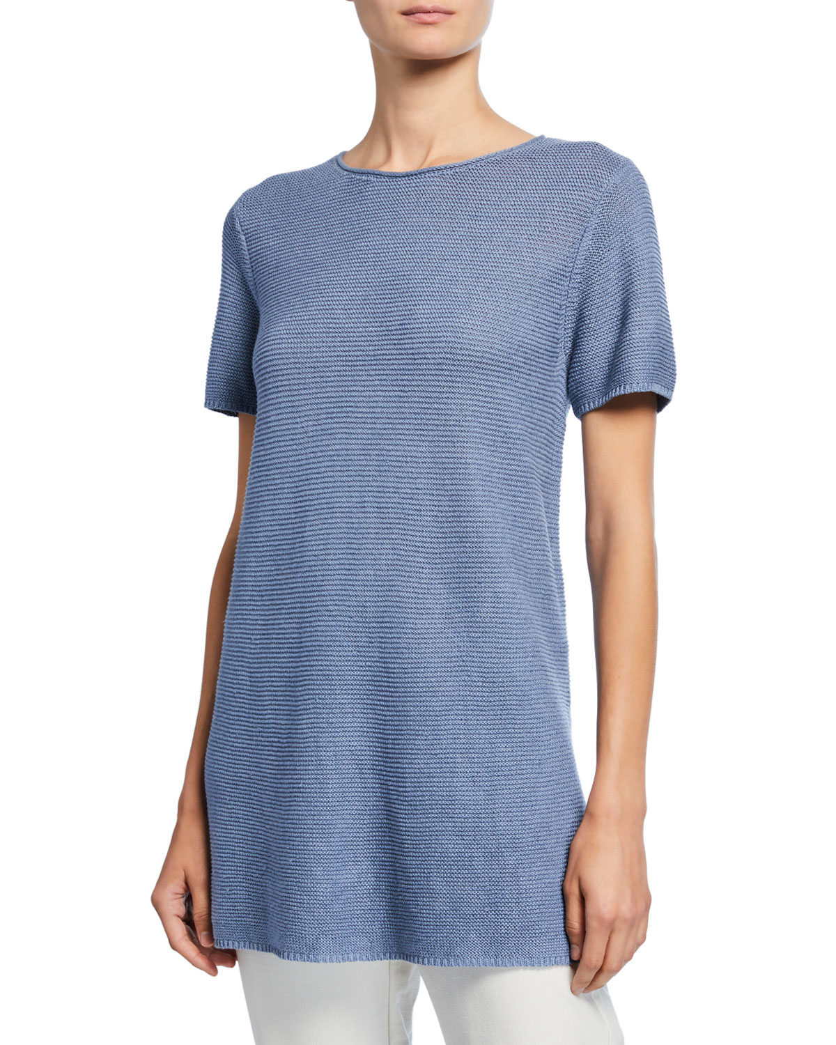 Eileen Fisher Petite Organic Linen/Cotton Short-Sleeve Corded Tunic Sweater