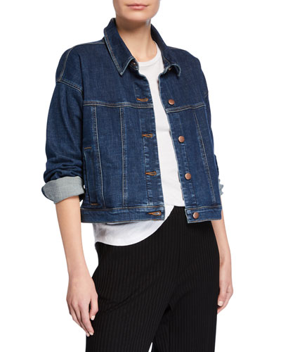 Plus Size Cropped Jean Jacket