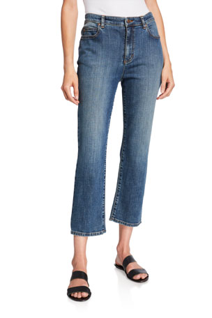 Eileen Fisher Organic Cotton High-Waist Straight-Leg Cropped Jeans