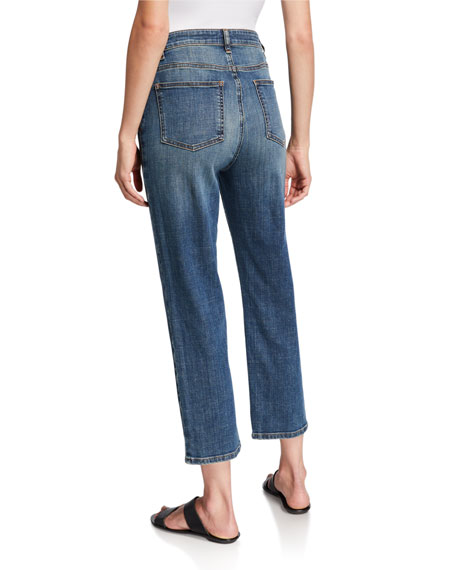 Image 2 of 3: Plus Size Organic Cotton High-Waist Straight-Leg Cropped Jeans