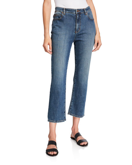 Image 1 of 3: Plus Size Organic Cotton High-Waist Straight-Leg Cropped Jeans