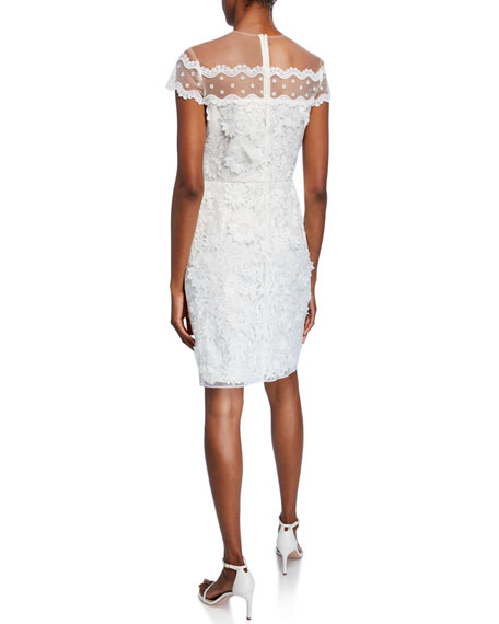 Image 2 of 2: Shoshanna Jan Cap-Sleeve Textured Lace Cocktail Dress