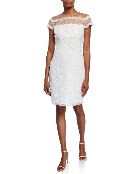 Image 1 of 2: Shoshanna Jan Cap-Sleeve Textured Lace Cocktail Dress