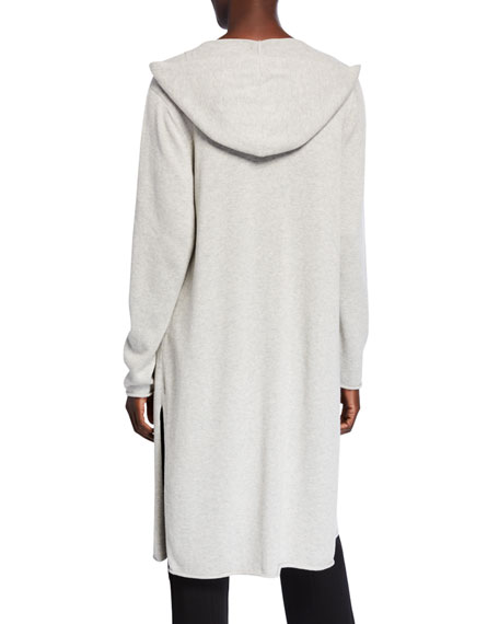 Eileen Fisher Hooded Peruvian Organic Cotton Long Cardigan