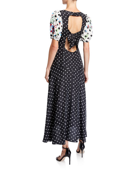 Tanya Taylor Cassandra Dot-Print Puff-Sleeve Midi Dress