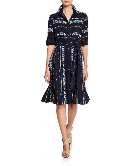 Finley Petite Jeanette Taos Stripe Long-Sleeve Shirtdress with Belt