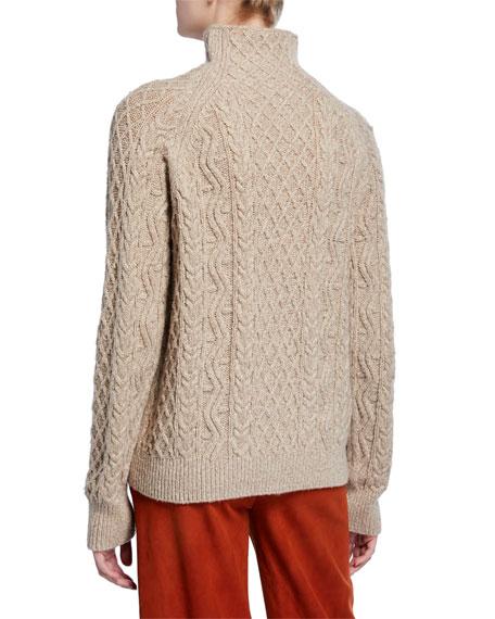 Vince Zigzag Cable-Knit Turtleneck Sweater
