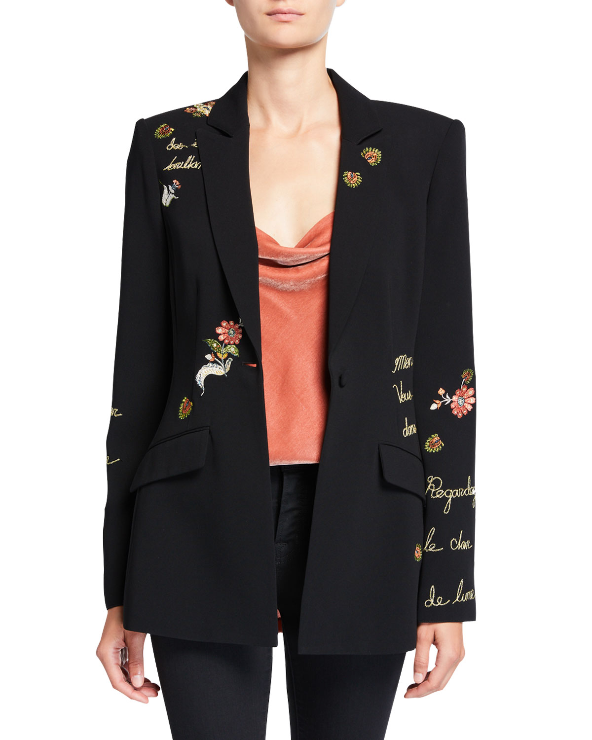estelle-paisley-love-letter-embroidered-crepe-blazer by cinq-a-sept
