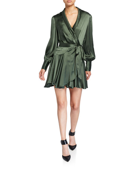 Zimmermann Espionage Long-Sleeve Silk Mini Wrap Dress