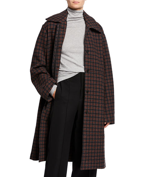 Vince Belted Check Wool Coat