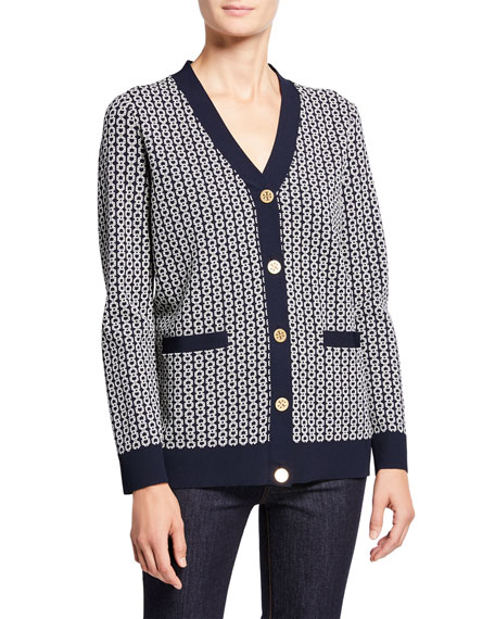 Tory Burch Gemini Link Jacquard V-Neck Button-Front Relaxed Cardigan