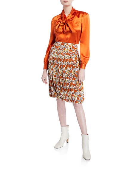 Tory Burch Blossom Ditsy Pleated Skirt