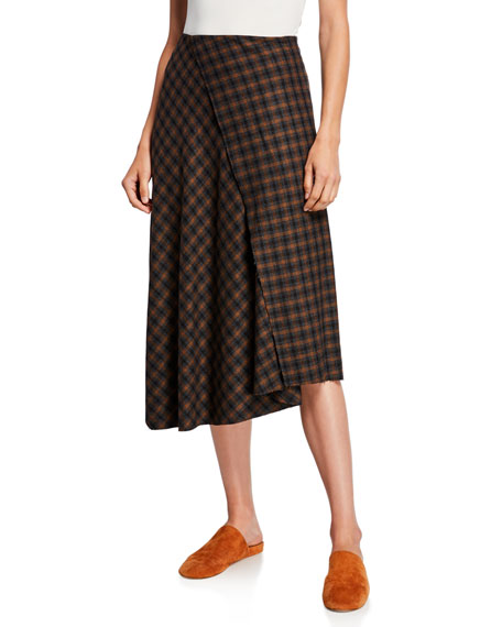 Vince Check Plaid Wool Draped Skirt