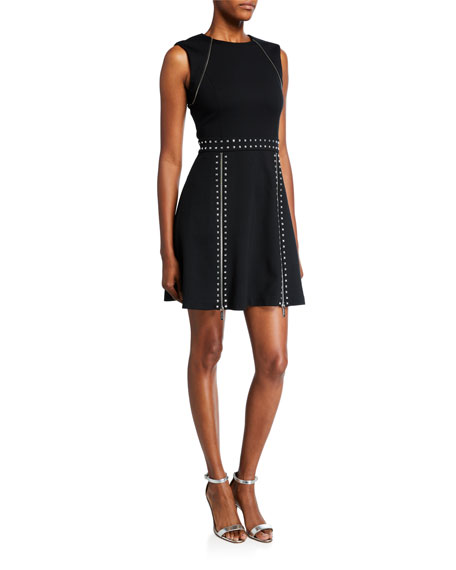 MICHAEL Michael Kors Sleeveless Pyramid Studded Mini Dress w/ Zipper Details