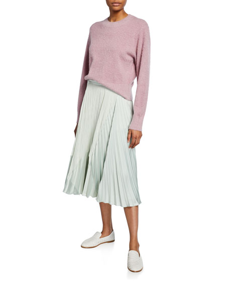 Vince Mixed Pleat Draped Midi Skirt