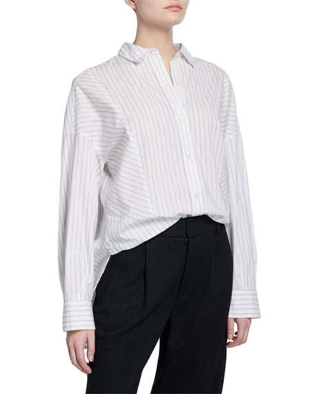 Vince Paneled Striped Button-Down Shirt