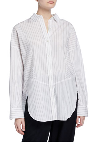 Vince Paneled Striped Button-Down Shirt