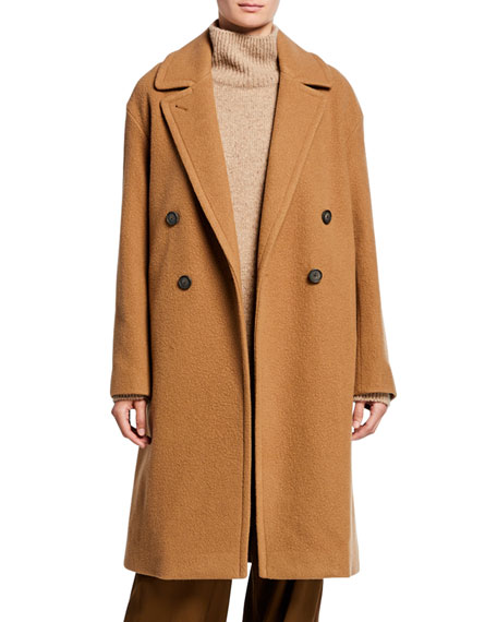 Vince Double-Breasted Wool Long Coat