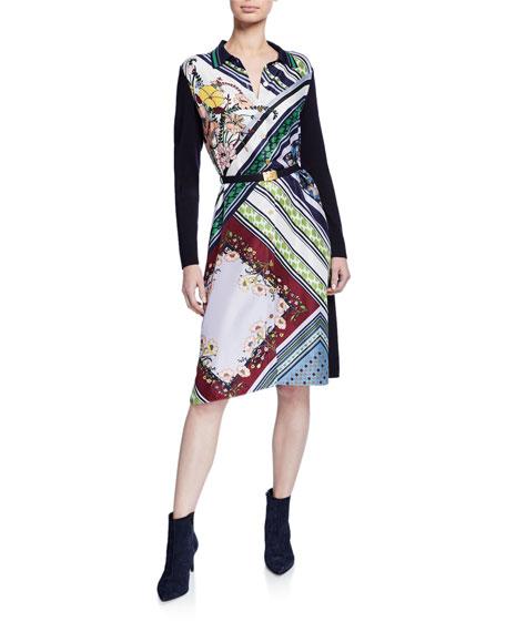 Tory Burch Mixed-Print Silk-Front Long-Sleeve Belted Shirtdress