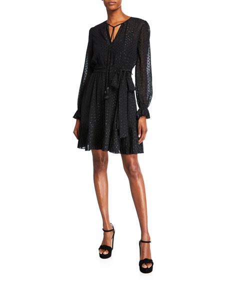 MICHAEL Michael Kors Dotted Tassel-Tie Long-Sleeve Pleated Dress with Belt