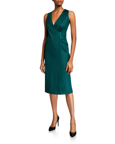 Sleeveless Techno-Jersey Blazer Dress