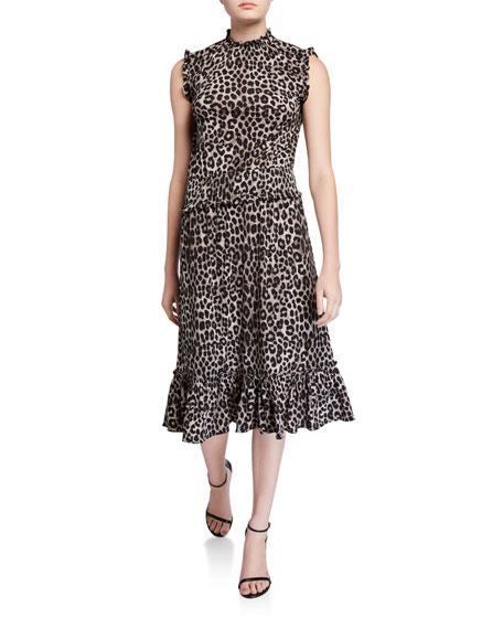 MICHAEL Michael Kors Cheetah-Print Sleeveless Smocked-Waist Dress