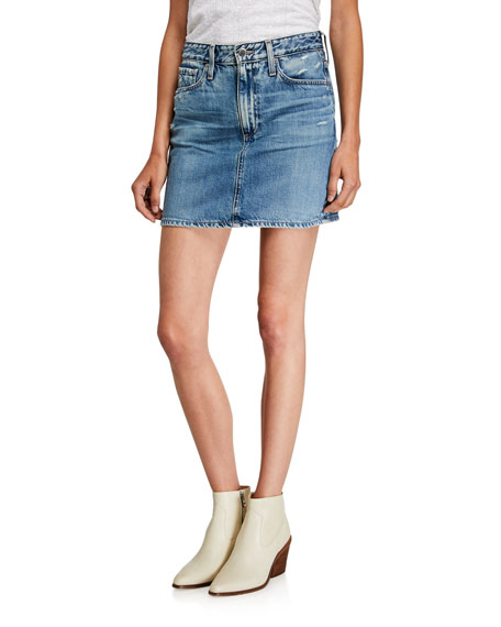AG Vera Distressed Denim Mini Skirt