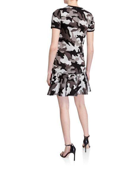 MICHAEL Michael Kors Grandcamo Crewneck Short-Sleeve A-Line Dress
