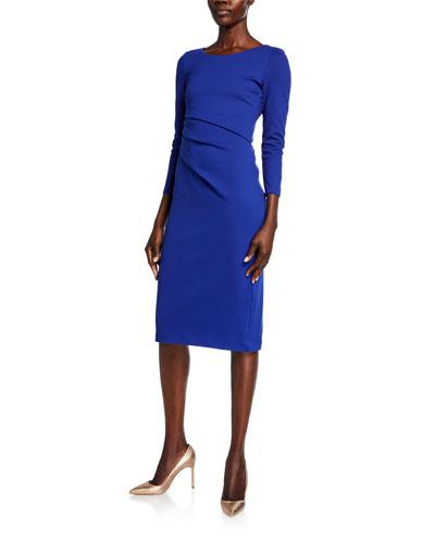 Round-Neck Ruched Jersey Dress  Cobalt