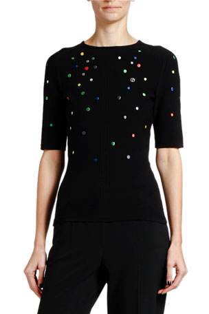Giorgio Armani Multicolor Dotted Knit 1/2-Sleeve Sweater