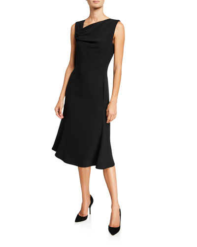 Techno Crepe Asymmetric-Neck Dress