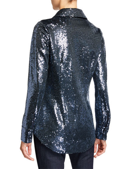 cinq a sept Isha Sequined Button-Down Top