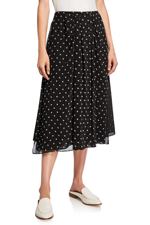 Vince Mixed Media Dot-Print Midi Skirt
