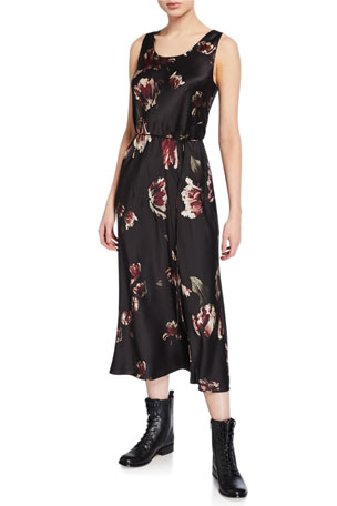 Vince Mixed Tulip-Print Slip Dress