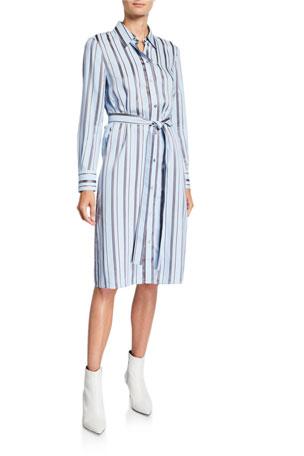 Tory Burch Striped Long-Sleeve Shirtdress