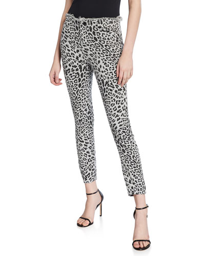 Robin Leopard High-Rise Frayed Skinny Jeans