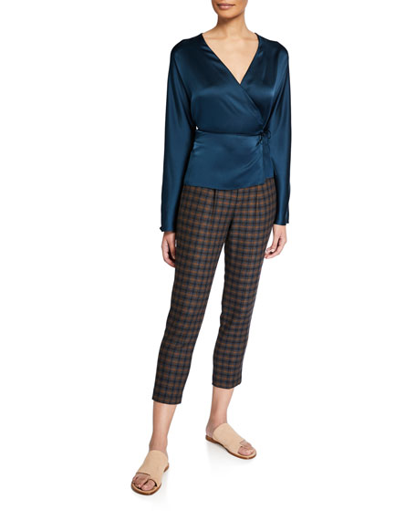 Vince Cropped Plaid Pull-On Pants