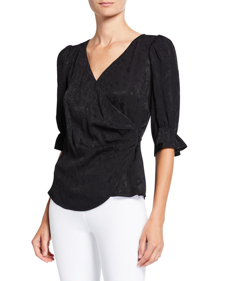 cinq a sept Theo 3/4-Sleeve Wrap Top