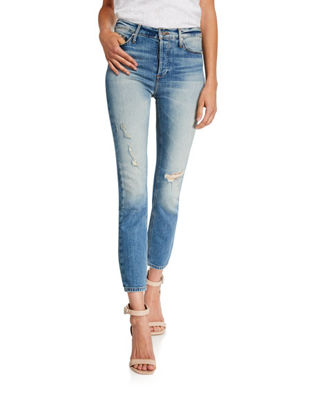 Black Orchid Joan High-Waisted Straight-Leg Distressed Crop Jeans