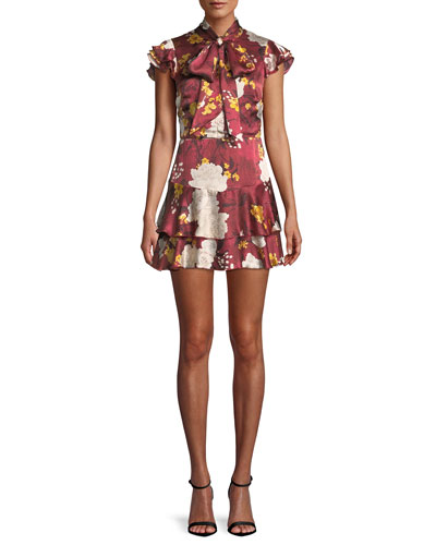 Lashay Tie-Neck Ruffle Floral-Print Silk Mini Dress
