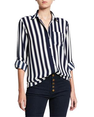 MICHAEL Michael Kors Lavish Striped Oversized Button-Down Shirt